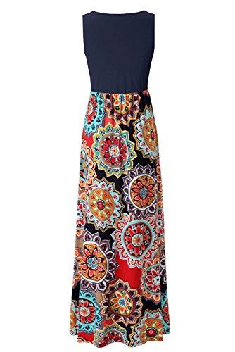 Summer Navy Sleeveless Top Dress Tank Multi Zattcas Maxi Floral Womens Print Contrast 5UaxwqvZ