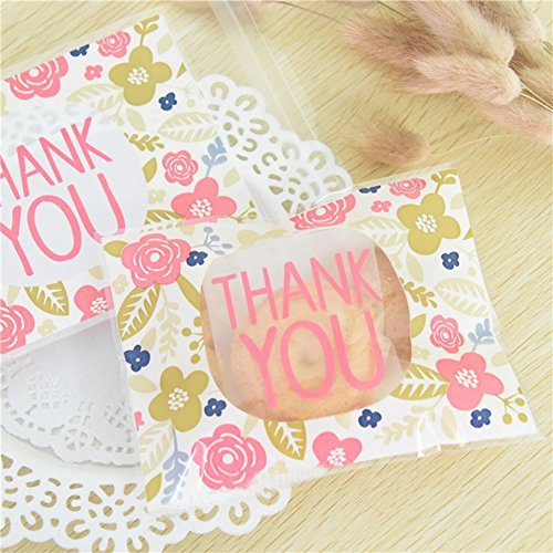 Abbonna THANK YOU Cookie Bags, 100 PCS Thank You Self-adhesive Treat Bags Plastic Bags Pink Flower Cookie Packaging for Bakery Candy Biscuits Party Favor