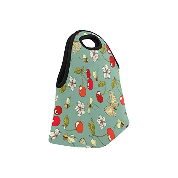 Interestprint Insulated Lunch Tote Bag Watercolor Blue Butterfly Reusable Neoprene Cooler, Blossom Flowers Floral Portable Lunchbox Handbag For Men Women Adult -