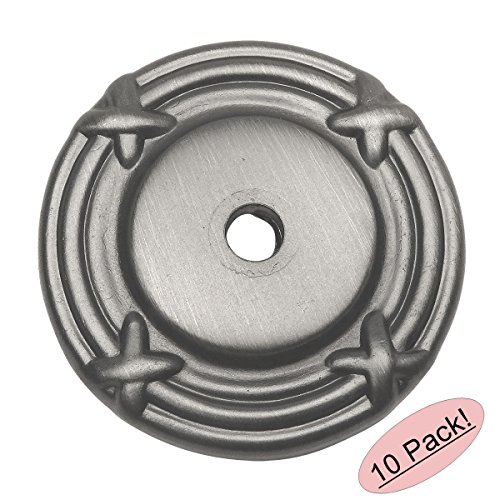 Cosmas 9468AS Antique Silver Cabinet Hardware Knob Backplate / Back Plate - 10 Pack (Backplate Silver)