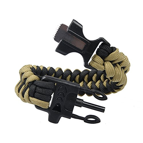 Survival-Kit-Paracord-Handmade-Bracelet-2-Pack-Multi-Tool-Bracelet-with-Flint-Whistle-for-Camping-Emergency-and-Adventure-Time-BlackBrown