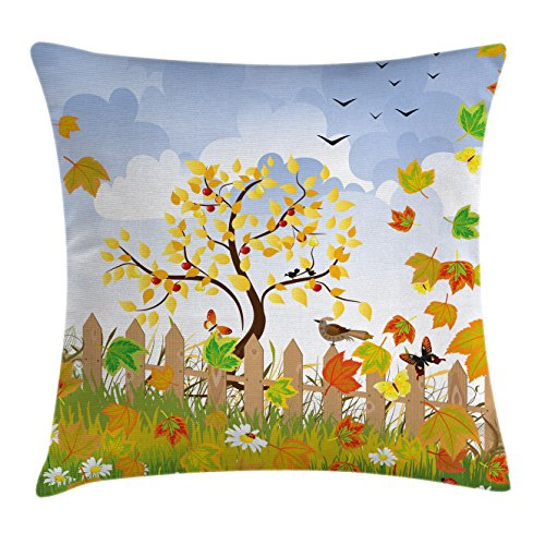 """Ambesonne Farmland Throw Pillow Cushion Cover, Winds of Fall View with Deciduous Branch Faded Leaves Birds Gulls in Park Image, Decorative Square Accent Pillow Case, 20"""" X 20"""", Pastel Lavender"""