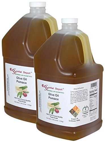 Olive Oil - Pomace Grade - Food Grade - 2 Gallons 256 oz - 2 x 1 Gallon Containers - Safety Sealed HDPE Container with resealable Cap (Olive Oil Soap Making)