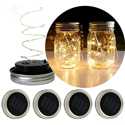 LIUguoo 20LED Warm White Waterproof Solar Mason Jar Light Lid with Hangers for Regular Mouth Mason Jar Outdoor Garden Backyard Christmas Halloween Decoration(Jars NOT Included)]()