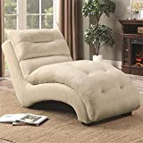 Coaster Arched Tufted Chaise Lounge in Tan