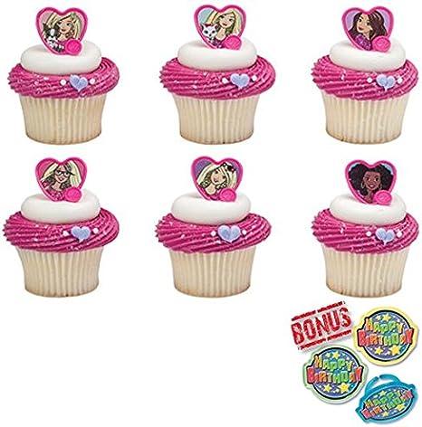 Remarkable Amazon Com Barbie Sweet Sparkles Cupcake Toppers And Bonus Personalised Birthday Cards Beptaeletsinfo