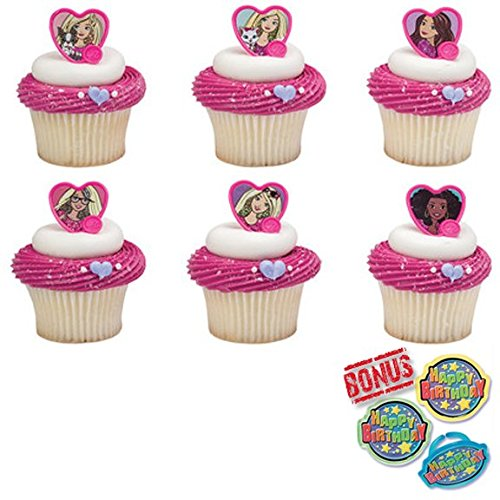 Barbie Sweet Sparkles Cupcake Toppers and Bonus Birthday Ring - 25 pieces