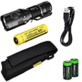 Nitecore MH20 CREE XM-L2 U2 LED 1000 Lumen USB Rechargeable Flashlight, Nitecore NL189 18650 3400mAh rechargeable Li-ion battery, USB charging cable, Holster 2 X EdisonBright Cr123A lithium batteries bundle