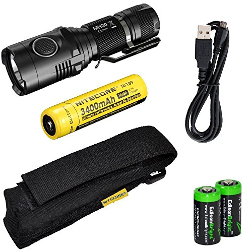 Nitecore MH20 CREE XM-L2 U2 LED 1000 Lumen USB Rechargeable Flashlight, Nitecore NL189 18650 3400mAh rechargeable Li-ion battery, USB charging cable, Holster 2 X EdisonBright Cr123A lithium batteries