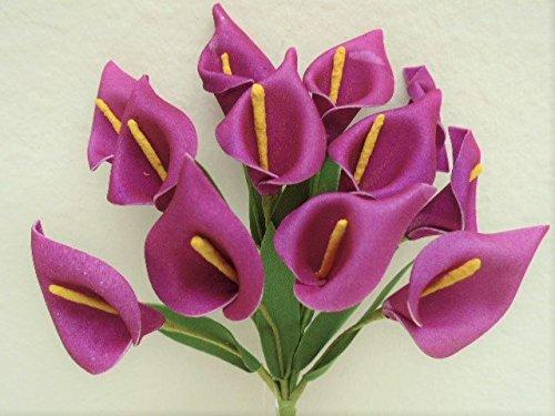 - 4 Bundles FUCHSIA Xmini Calla Lily Artificial Foam Flowers 574FU