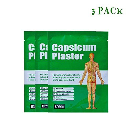 Queenie® Capsicum Plaster, Back Pain Relief Patches for Muscle Pain 24Pcs/3Bags Pain Relief Patches for Arthritis