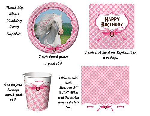 HEART MY HORSE Birthday Party Supplies Decorations PACK FOR 8---PLATES, CUPS NAPKINS, CUPS & TABLE COVER