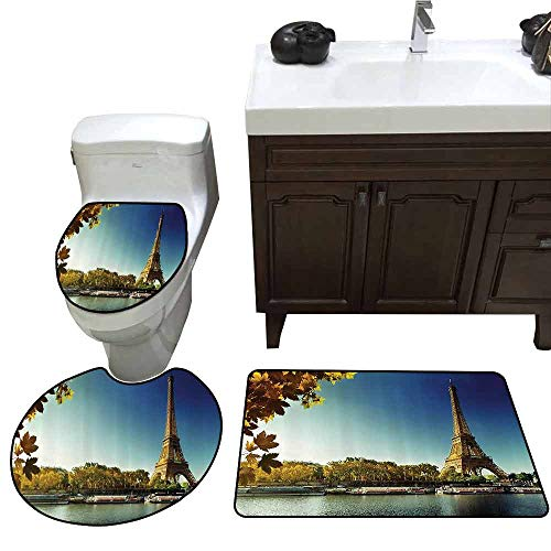 3 Piece Extended Bath mat Set Eiffel Tower Decor Seine in Paris with Eiffel Tower in Autumn Season Leaves Skyline Riverside Scenery Printed Rug Set