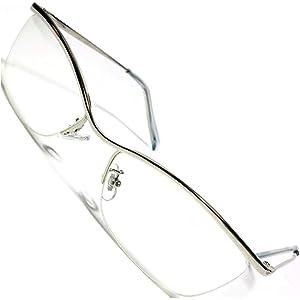 シルバー×クリア 伊達メガネ 伊達眼鏡 だてめがね だて眼鏡 度なしメガネ オラオラ いかつい めがね 眼鏡 メンズ レディース 丸 四角 透明 色付き 小さい 大きい 軽い 男性 uvカット 紫外線カット 1040111-F-077