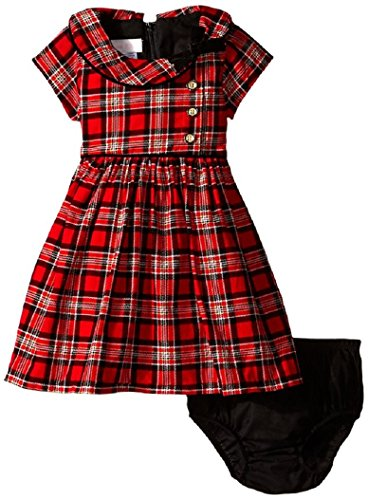 Bonnie Baby Baby-Girls Infant Corduroy Printed Plaid Dress, Red, 18 Months