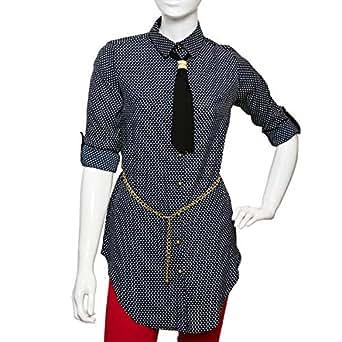 Puanli Blue Polyester Shirt Neck Shirts For Women