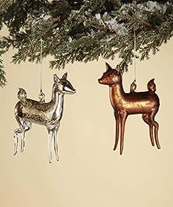 Pair of Mercury Style Blown Glass Vintage Deer