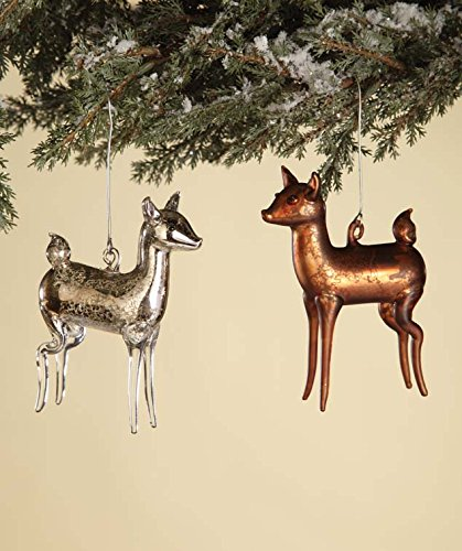 Mercury Glass Vintage Deer Ornaments Set of 2