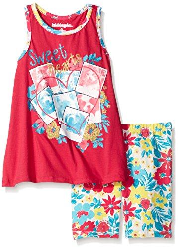 [Kidtopia Little Girls' Sweethearts Racerback with Floral Bike Short Set, Fuchsia Burst, 4] (Sweetheart Girl)