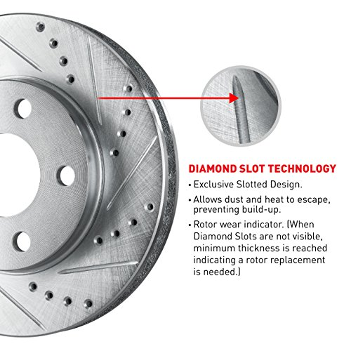 R1 Concepts KEDS11727 Eline Series Cross-Drilled Slotted Rotors And Ceramic Pads Kit - Front by R1 Concepts (Image #3)