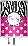 RNK Shops Zebra Print & Polka Dots 7'' Drum Lamp Shade Polyester (Personalized)