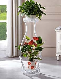 LX étagère à fleurs Europeo de dos niveles de hierro forjado piso florista estante, soporte de la planta, estante de flores para el balcón, interior, sala de estar Escalera Rack de rangement Support de pots intérieur extéri ( Color : Blanco , Tamaño : L )