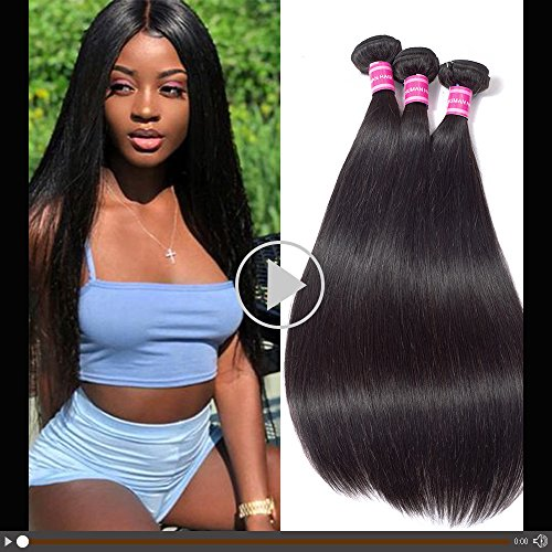 Gabrielle Weave Hair (16 18 20) 3 Bundles Brazilian Remy Human Straight Hair 100% Unprocessed Brazilian Virgin Human Hair Weave Straight Hair Bundles Extension Natural Color Hair Brazilian (Best Black Hair Dye For Brazilian Weave)