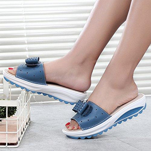 de Planas Hueco Diseño Playa Sandalias Jones Mujer de Cuña para Zapatillas Azul Giles zpHq0