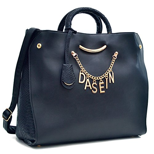 Dasein Designer Women's Signature Top Zip Ring Tote Shoulder Bag Satchel Purse w/Snake Embossed Trim Fit 15