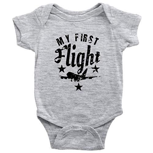 Teehub My First Flight One-Piece Airplane Flyer Baby Bodysuit (Heather Grey, 24M)