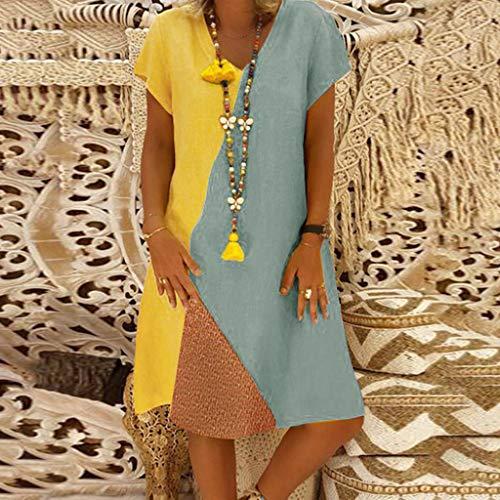 Donna Block manica Abiti estate Absolute V 2019 con abito ❤️ corto Casual corta Donna argento scollo Vintage a Color rrSnzxY