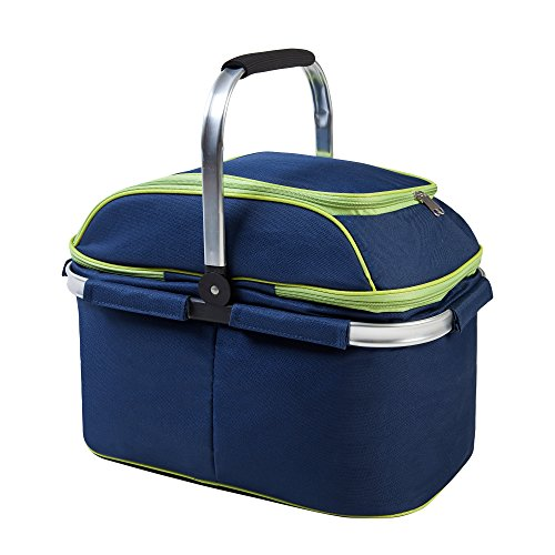 Family Size Insulated Folding Collapsible Picnic Basket Cooler with Sewn in Frame by LieveLife