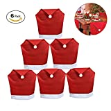 Soft Comfort Classic Santa Hat Dining Chair Covers For Christmas Party Decoration,6 Pack,23.6'' 19.7''