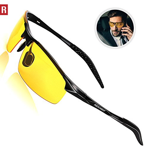 Rocknight Driving Polarized Night Vision Glasses For Men UV Protection HD Yellow Glasses Ultra Lightweight Al-Mg Metal Frame Outdoor Rimless - Ultra Sunglasses Lightweight