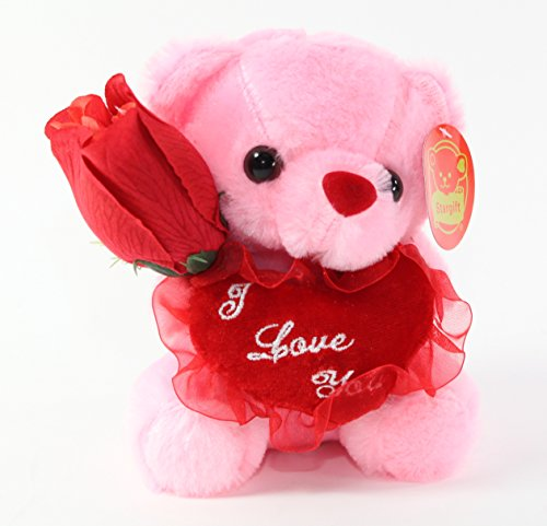 Bear for Mother and Valentine I Love You Red Heart Gift Box Set Plush Toy Pink Teddy ~ We Pay Your Sales Tax