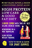 HIGH PROTEIN, LOW CARB & GOOD FAT DIET - 3-BOOK COMBO WITH TWO #1 BEST SELLING EXERCISE BOOKS - REBOUNDING ON A MINI TRAMPOLINE - SLOW MOTION WEIGHT TRAINING ... (HOW TO BOOK & GUIDE FOR SMART DUMMIES 11)