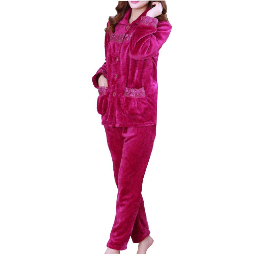 FANCY PUMPKIN Thicker Women's Flannel Pajamas Warm Robe Suit#01 CLO-543