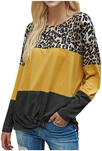 Kinsaiy Women Sweatshirt Pullover Tops V-Neck Splice Blouses Tee Loose Long Sleeve Fashion Casual Tunic Tops T-Shirts