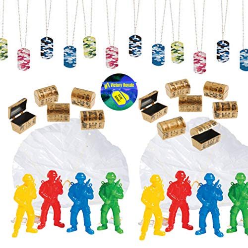 Video Game Party Favors for 12 - Paratroopers 3 Inch (12), Camo Dog Tag Chains (12), Mini Treasure Chests (12), and Gamer Party Sticker (Total 37 Pieces)