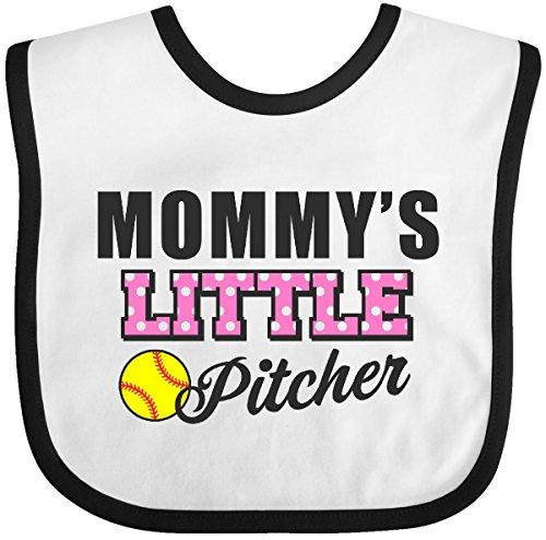 Inktastic - Mommys Little Pitcher Softball Baby Bib White/Black 2b09e