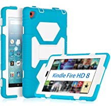 KIDSPR Fire HD 8 Case 2016,Silicone [Protective] Shockproof Kids proof Impact Resistant Outdoor Gift Cases Covers with Stand for 2016 Release Amazon Fire 8 Inch Tablet (2016 Only)(Blue White)