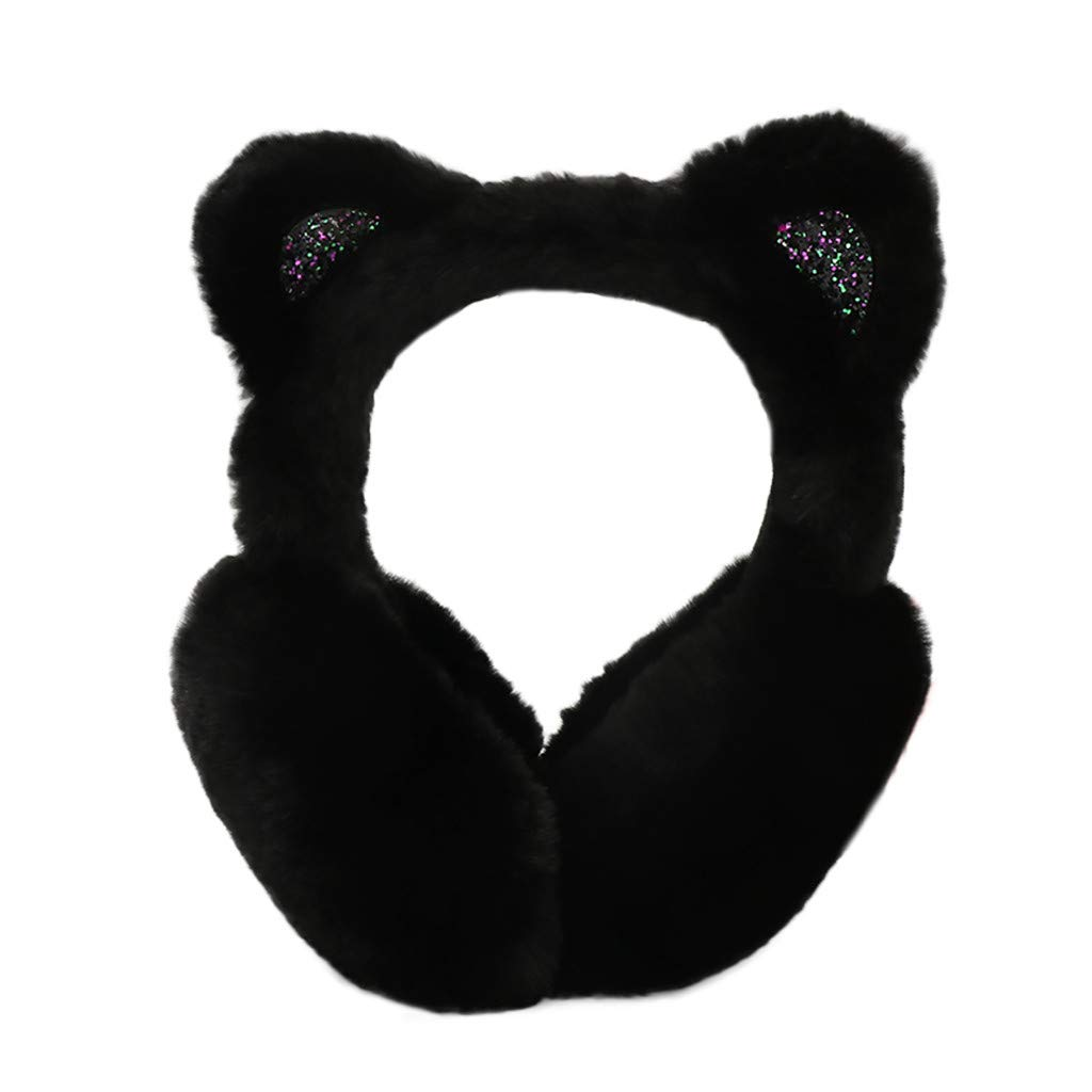 Hosamtel Women Cute Cat Ears Design Windproof Winter Warm Faux Fur Adjustable Earmuffs (2#Black)