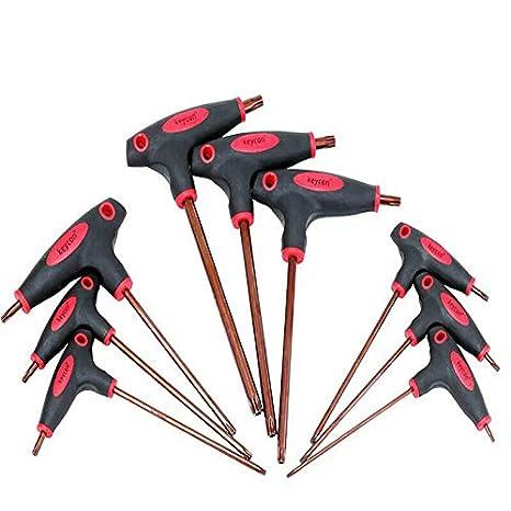 T50 Tournevis avec manche en T cl/és T-poign/ée grip torx hexagonale cl/é tournevis T10 T25 pour vis torx jeu de cl/és torx