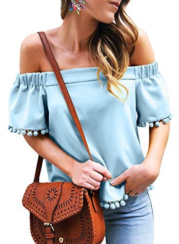 Asvivid Womens Fashion Off The Shoulder Slash Neck Short Sleeve Tops Pop-Pop Tassel Shirt Blouses Plus Size 1X Blue