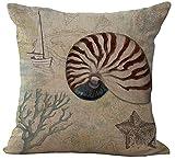 ChezMax Marine Animal Stuffed Cushion Cotton Linen Throw Pillow Insert Square For Hotel Club Bar Decoration Decor Decorative Chair Seat Sofa