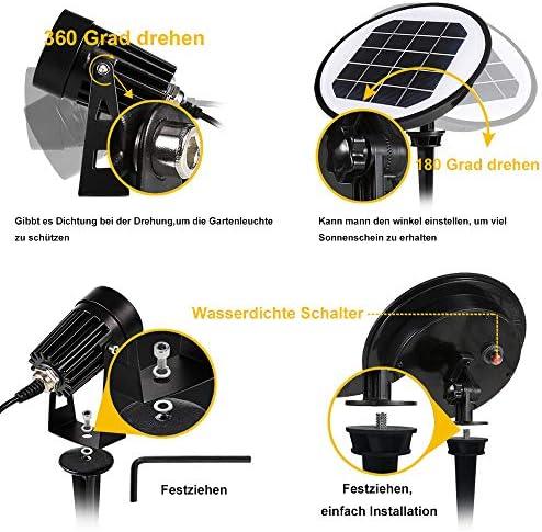 Gartenleuchten Solar, GreenClick 2 Stück Wasserdicht IP65 Solar Gartenstrahler mit Erdspieß für Außen 3000K Warmweiß Gartenbeleuchtung Solar, Solarleuchten, LED Solarlampen für Balkon Baum Wiese