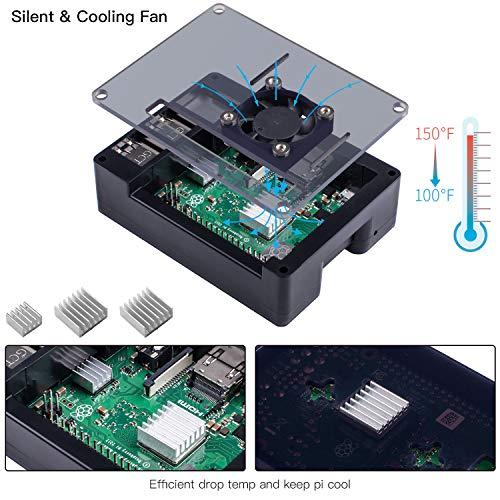Smraza Raspberry Pi 3 B+ Case with Fan, RPI Heatsinks, 5V 2.5A Power Supply for Raspberry Pi 3 Model B+(B Plus), Compatible with Raspberry Pi 3 Model B, Pi 2 Model B (4 Layers Case) by Smraza (Image #1)