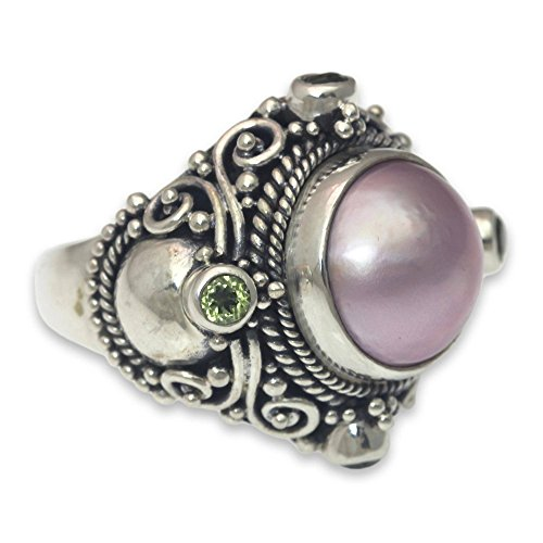 (NOVICA Peridot Pink Cultured Mabe Pearl .925 Sterling Silver Cocktail Ring, Regal Rose Glory')