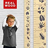 "Growth Chart Art | Hanging Wooden Height Growth Chart to Measure Baby, Child, Grandchild - Animal Tracks Ruler with Gray Paw Prints and Numerals - Wall Decoration for Girls and Boys - 58""x5.75"""