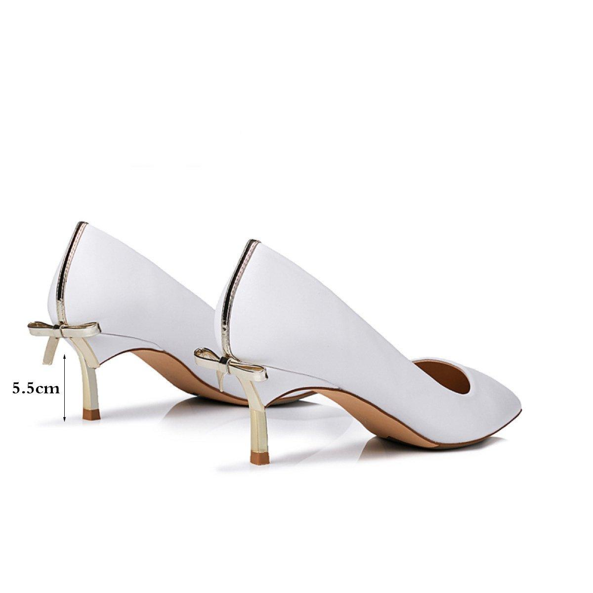 Scarpe Corte Da Donna Scarpe Scarpe Donna Punta A Punta Bianca Tacchi Alti Piattaforma A Stiletto Archi Scarpe In Pelle White5.5cm) 0ad430